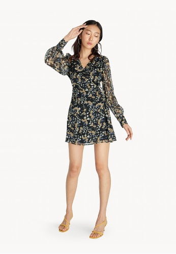 Pomelo black Mini Cuffed Floral Wrap Dress - Black B4AD6AA0997D49GS_1