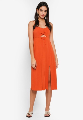 Shop Topshop Petite Ruched Front Molly Midi Slip Dress Online On