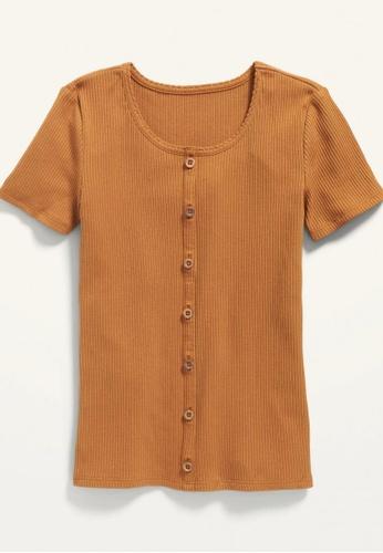Old Navy brown Girls Rib-Knit Button-Front Short-Sleeve Top A2A75KA403DA4EGS_1