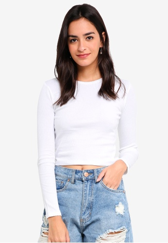 TOPSHOP white Long Sleeve Scallop Top AA35EAA2607821GS_1