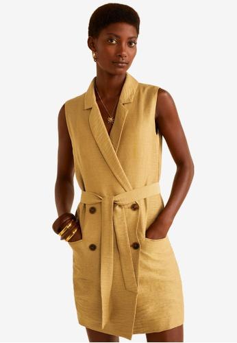 Mango brown Lapels Textured Dress A672CAA7945BE8GS_1