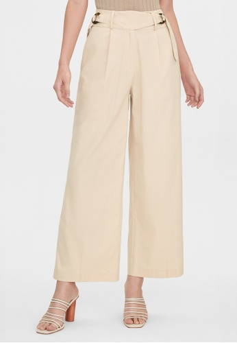 Pomelo beige Belted High Waist Pants - Beige 8D468AAE2F9B3CGS_1