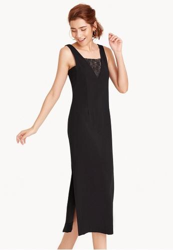 Pomelo black Petunia V Neck Lace Maxi Dress 232A2AA6DC6397GS_1
