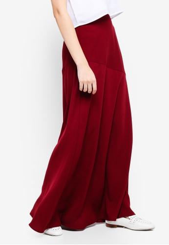 Zalia red Asymmeteric Panel Skirt 2D791AA60CAD3CGS_1