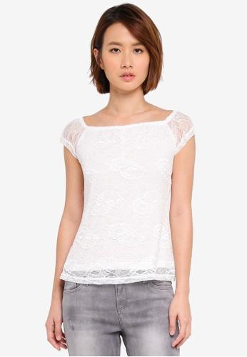 Dorothy Perkins white Petite Ivory Lace Bardot Top A2383AA1A3F909GS_1