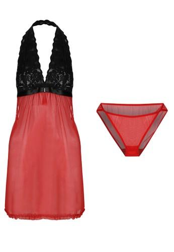 LAVABRA Intimates red Italian Lace Halter Sexy Back Lingerie Set LA387US57BJEID_1