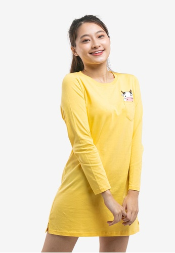 FOREST yellow Forest Ladies Long Sleeve Round Neck Dress B3345AADC1271AGS_1