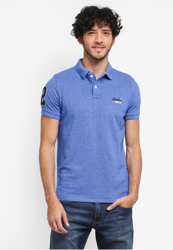 Superdry blue Classic Pique Polo Tee B1DF1AA4DDB083GS_1