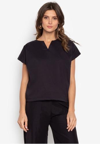 Courier black Vneck Short Sleeves Blouse 413FBAAAD1765BGS_1
