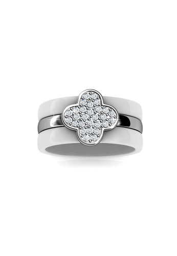 Her Jewellery white Clover Ceramic Ring (White) - Made with premium grade crystals from Austria HE210AC0FTQRSG_1