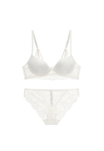 W.Excellence 白色 Premium White Lace Lingerie Set (Bra and Underwear) C8D1CUSA407B99GS_1