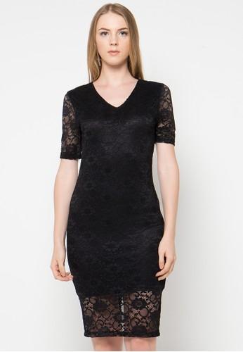 Raspberry black Eden Lace Midi Dress RA572AA18VEJID_1