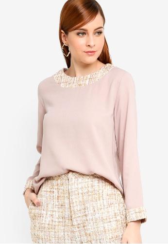 Zalia pink Tweed Piece Top AE849AAF93D6A8GS_1