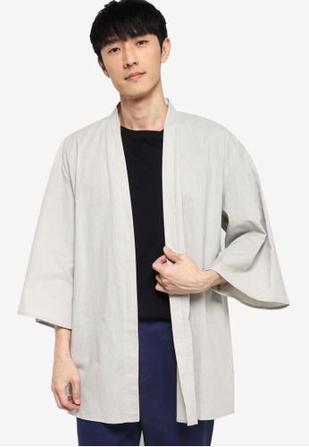ZALORA BASICS beige Linen Kimono Cardigan 231C1AA51C459EGS_1