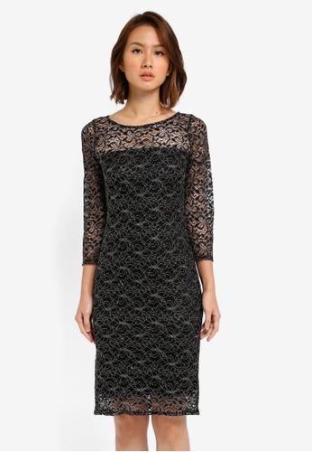 Wallis black Silver Lace Shift Dress WA800AA0SITKMY_1