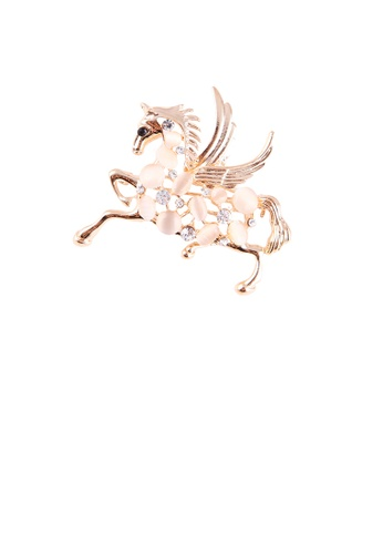 Glamorousky white Fashion and Elegant Plated Gold Horse Opal Brooch with Cubic Zirconia 97AF9ACCDCDE65GS_1