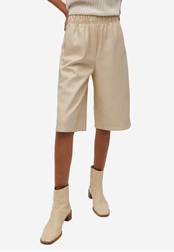 Mango white Leather Effect Bermuda Shorts 902E3AA3D7ACC0GS_1