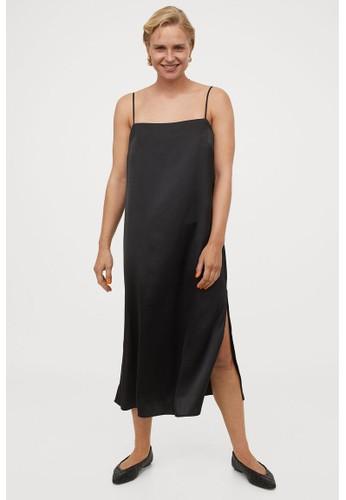 H&M black Satin slip dress 26A57AA966A133GS_1