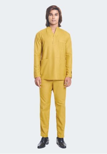 De Leuca yellow De Leuca Baju Melayu Hang Tuah (Mustard) 1B821AA04FA43CGS_1
