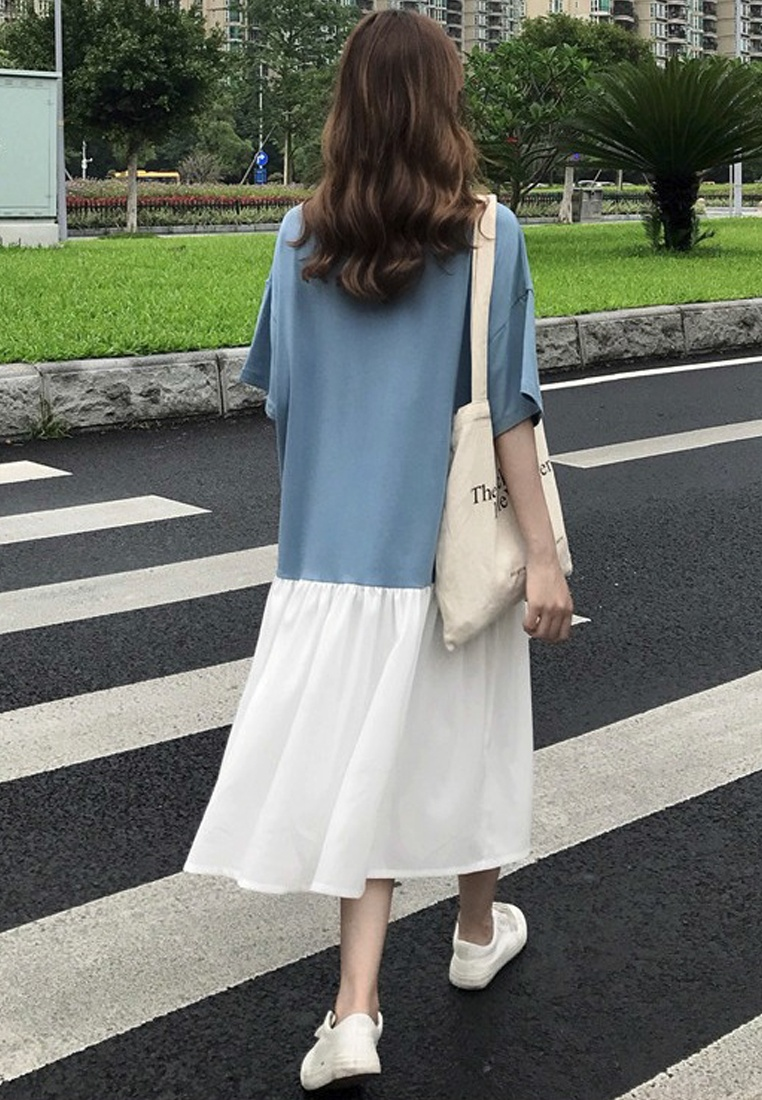 Dress Sunnydaysweety New CA062903BL Cutting One Loose Blue 2018 Piece X07Bv