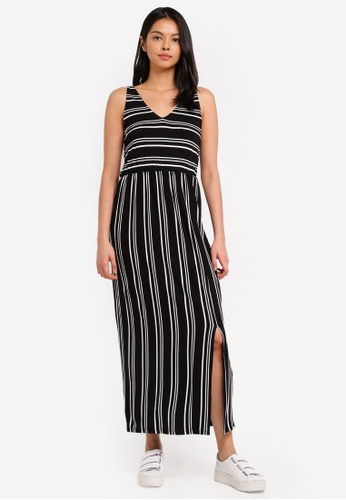 WAREHOUSE black Stripe V Neck Maxi Dress 32FB9AAEBA7A77GS_1