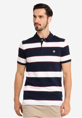 Timberland navy Millers River Yarn Dye Stripe Pique Polo Shirt 29AB4AA7177A59GS_1