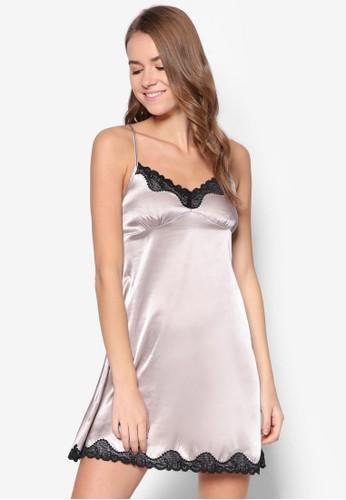 緞面細肩帶睡裙, 服飾, zalora 衣服評價睡衣