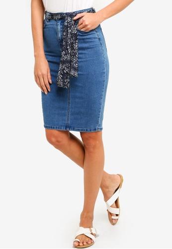 ZALORA blue Pencil Skirt with Scarf 7F356AA600B93EGS_1