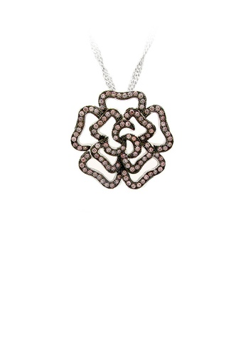 Glamorousky silver 925 Sterling Silver Rose Pendant with Brown Cubic Zircon and Necklace 000B9ACD1F98F8GS_1
