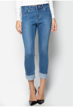 Mid Wash Straight Cut Jeans with One Fold Cuffed Hem