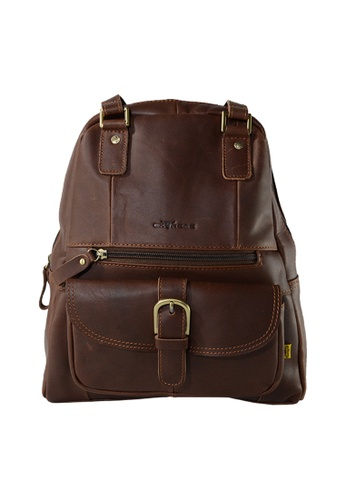 EXTREME brown Extreme Genuine Lather 2 Way Backpack Multi Compartment Chocolate Brown BC637AC8574BA6GS_1