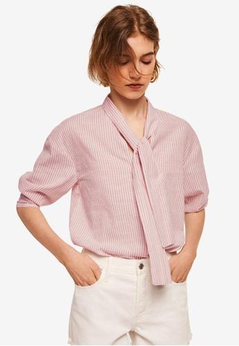 Mango pink Striped Cotton Blouse B2E5DAA1343022GS_1