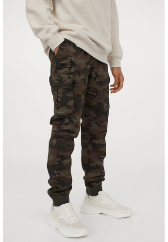H&M green Cotton cargo joggers 3D714AA6C046C0GS_1