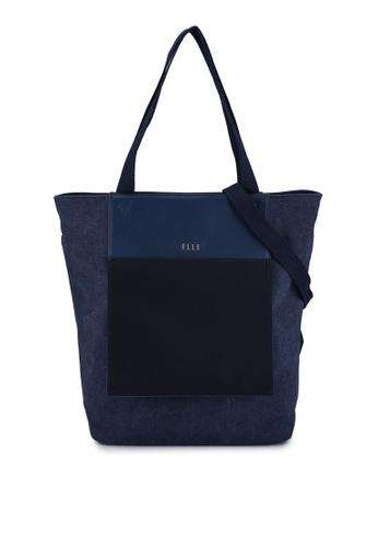 ELLE navy Esme Shopper Bag 485B9ACDFD42E9GS_1