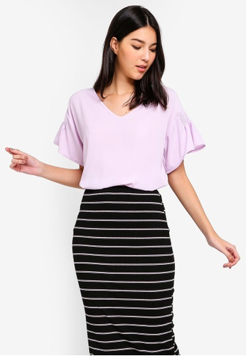 ZALORA purple Ruched Sleeves Top A45EDAA0DD795CGS_1