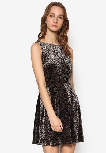 TOPSHOP multi Leopard Velvet Skater Dress TO412AA84YLNMY_1