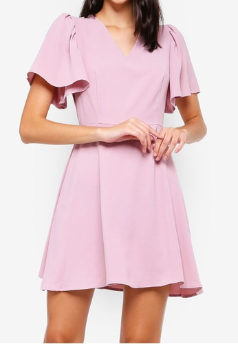 ZALORA pink V-Neck Flare Sleeves Fit And Flare Dress DE14CAAF78E372GS_1