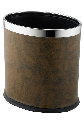JVD JVD Lifestyle JVD Oval Double Layer 10 Litres Bin With PU Leatherette Brown 14492HLF603B52GS_1