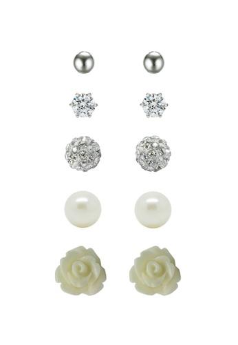 Fur Nyce white Eternity Rose Garden Pearl Diamond Stud Earrings Set FU779AC76NQTMY_1