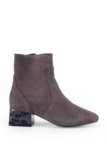 River Island 灰色 Toppadom Heel Detail Boots F7D41SHAB5334EGS_1