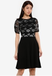 Dorothy Perkins black Black Lace Ruche Sleeve Dress DO816AA0RSOWMY_1