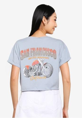 Supre blue Tamara Printed Crop T Shirt A2683AABE93679GS_1
