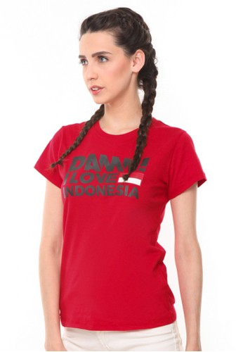 Damn I Love Indonesia red Tee Sign Red HD Black Female 0F9F2AA0010F70GS_1