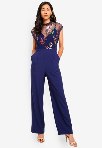 Little Mistress blue and multi Navy Embroidered Jumpsuit 2E4ECAA23CD910GS_1