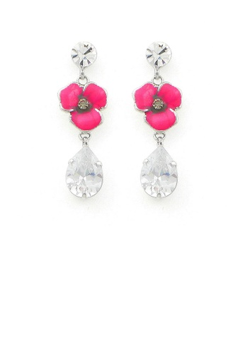 Glamorousky silver Pink Flower Earrings with Silver Austrian Element Crystal 82BAFACCF79DBEGS_1