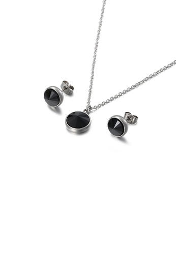 Glamorousky black Fashion Simple Geometric Round 316L Stainless Steel Necklace and Stud Earring Set with Black Cubic Zirconia 4982DACB2ADC5EGS_1