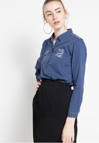 Cressida Ladies navy Textured Graphic Shirt CR653AA59TMIID_1