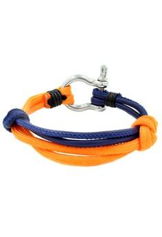 Silver Shackle Duo Blue/Orange Bracelet