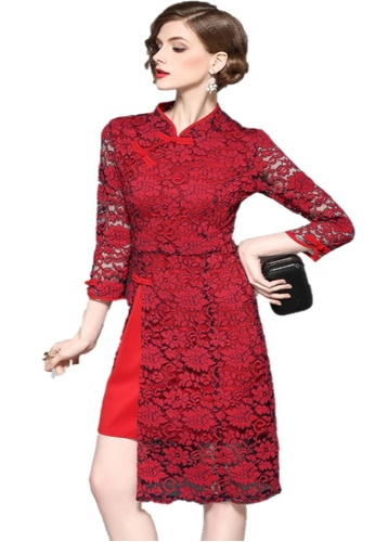 Sunnydaysweety red S/S  Spring Boutique Retro Lace One Piece Dress A01040915 B75EFAA031DBAFGS_1