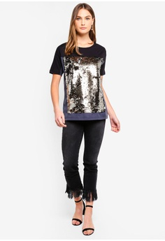 b240bb22a11 50% OFF French Connection Emilia Sequin Jersey Oversized Tee S  123.90 NOW  S  61.95 Sizes XS S M L XL